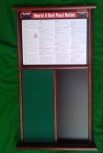 BCE LUXURY MAHOGANY DELUXE POOL RULES AND NOTICE BOARD OR FOR SNOOKER TABLE USE